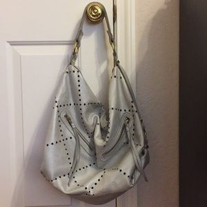 Linea Pelle hobo shoulder handbag Silver color
